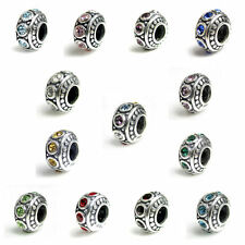 925 Sterling Silver Birthstone CZ Crystal Bead For European Charm Bracelets