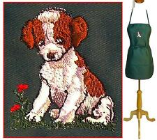 "Puppy Apron 24"" or 30"" Sizes Dog & Flower Monogram Kitchen Chef Artist Smock NWT"