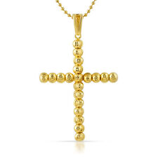 Large 925 Sterling Silver 14K Gold Plated Moon Cut Cross Pendant