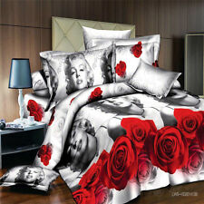 Duvet Cover Pillowcase Quilt Cover Bed Set Queen Size Red Rose Sexy Lady ml O