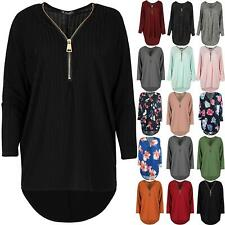 Womens Ribbed Knitted Top Jumper Ladies Golden Zip Up baggy oversize Swing Dress