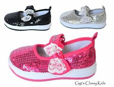 Baby Infant Toddler Girls Tennis Shoes Mary Jane Sequins Sneakers Kids Bow Flats