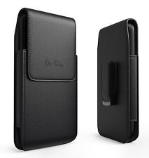 Black Leather Vertical Holster with Belt Clip Loop Pouch Case for Apple IPhone
