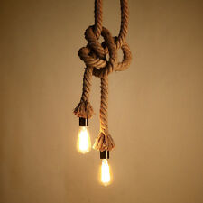 Retro Vintage Rustic Style Rope Pendant Light Cafe Bar Ceiling Lamp Edison Bulb