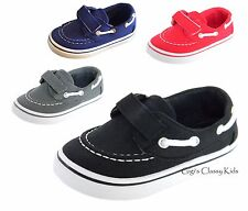 New Boys Infant Toddler Boat Canvas Shoes Loafer Kids Tennis Velcro Casual
