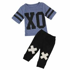 2pcs Newborn Toddler Infant Baby Boy T-shirt Tops+Pants Kids Clothes Outfits Set