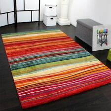 Modern Quality Rug Designer Striped Pattern Mat Multi Coloured Luxury Carpet