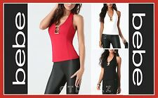 bebe BRENDA METAL TRIM HALTER TOP BLOUSE SHIRT PARTY SEXY CLUB WOMEN (NEW)
