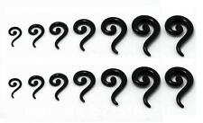 Pair of Acrylic Black Question Mark Spiral Ear Tapers Gauges Size 14g to 00g