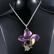 Fashion Jewelry Hiphop Cowboy-hat Skull Necklace Pendant Chain Unisex Charm Gift