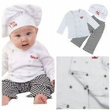 Child Baby Boy Girl Carnival Party Cook Chef Costumes Outfit Top+ Pants+ Hat Set