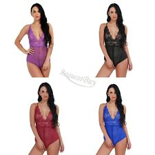 NEW Womens Sexy Lingerie Lace Babydoll Crotchless Nightwear Dress Thong G-String