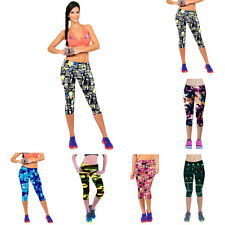 New High Waist Fitness Yoga Sport Pants Printed Stretch Pants Cropped Leggings