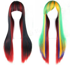 Hot Women's Lady Straight Wavy Mixed  Hair Anime Long Cosplay Party Full Wig New