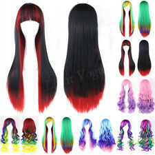 Women Girls Straight Wavy Mixed Hair Long Anime Cosplay Party Full Wig New 46