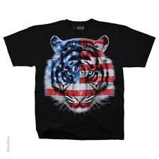 Patriotic Tiger TShirt Flag Americana Graphic Tee S M L XL 2XL NEW Liquid Blue