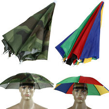 Rainbow Foldable Sun Umbrella Hat Cap Headwear For Outddor Golf Fishing Camping