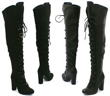 WOMENS LADIES THIGH HIGH LACE UP PLATFORM BOOTS KNEE HIGH HEEL SHOES SIZE 3-8