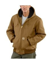 Carhartt J140 Men's Duck Active Jacket Quilted Flannel Lined BROWN   USA