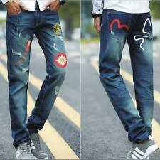 Men's Slim Printed Denim Skinny Runway Straight Elastic Pants Jeans Trousers Q77