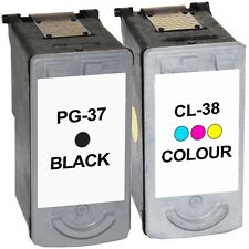 PG-37 & CL-38 Txt Black & Colour Ink Cartridges For Canon Pixma iP1900 iP1800