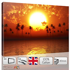 RED SEA SUNSET BEACH LANDSCAPE SEASCAPE - CANVAS WALL ART FRAMED PRINTS PICTURES