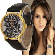 Vintage Women Watch Leather Band Printed Lace Analog Quartz Dress Wristwatch Hot