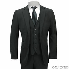 Men's 3 Piece Classic 2 Button Tailored Fit Smart Casual Black Formal Work Suit