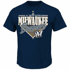 Milwaukee Brewers MLB Majestic Mens Walk Off Homer Shirt Navy Adult Size Large