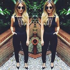 Sexy Women Lady Sleeveless Bandage Slim Bodysuit Jumpsuit Short Romper Black New