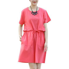 Maternity Round Neck Drawstring Waist Two Pockets Side Tunic Dress