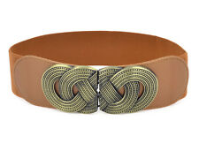 Knot Woven Metal Interlocking Buckle Elastic Waist Cinch Belt Band