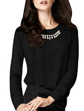 Women Round Neck Long Sleeve Semi Sheer NEW Top Shirt