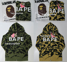 A BATHING APE Ladies' 1ST CAMO BAPE FULL ZIP HOODIE Green/Yellow Japan New