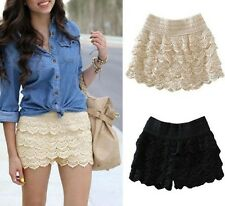 New gril's Sweet Cute Womens Crochet Tiered Lace Shorts Skirts Short Pants
