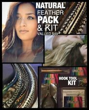 Natural Feather Hair Extension Grizzly PACK + Craft Kit Tool 30Beads X-XXL VALUE