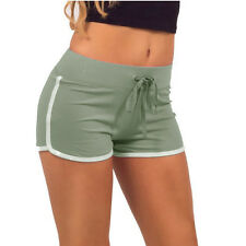 Women Elastic Waist Drawstring Piped Running Shorts