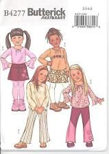 Butterick 4277 Girls' Top, Skirt, Pants and Belt 2, 3, 4, 5  Sewing Pattern