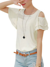 Lady Ruffled Layer Short Sleeves Button Closed Back Sweet Blouse