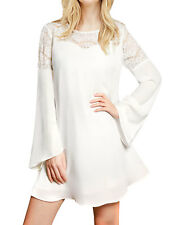 Allegra K Woman Lace Panel Long Bell Sleeves Round Neck Pullover Mini Chiffon Dr