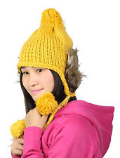 Winter Wear Cute 3 Pom Pom Design Knitted Ribbed Ear Flap Hat for Lady