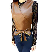 Women Long Sleeves Lace Top w Crossover V Neck Belted Crop PU Vest Sets
