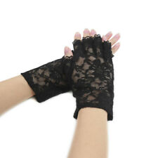 Women Wrist Length Half Finger Floral Lace Gloves Pair