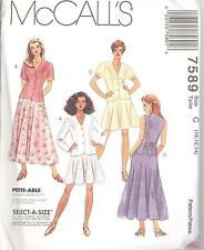 McCall's 7589 Misses' Unlined Jacket, Unlined Vest & Pull-On Skirt   Pattern