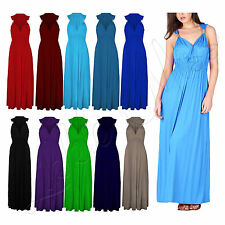 Womens Summer Party Long Dress Ladies Plain Stretch Flared Spring Coil Maxi 8-14