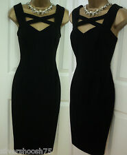M&S BLACK CROSS FRONT CUT OUT WIGGLE SHIFT STRETCH PENCIL PARTY VNTGE DRESS 6-22