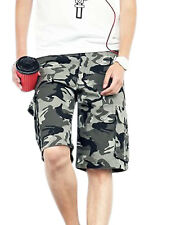 Men One Button Up Camouflage Pattern Chic NEW Cargo Shorts