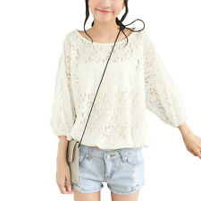 Women Boat Neck 3/4 Sleeve Pullover Loose Fit Floral Design Casual Top