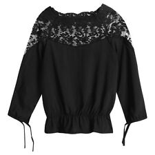 Women Scalloped Neckline Long Sleeves Flower Embroidery Chiffon Tops