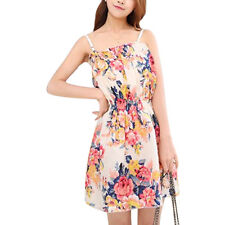 Ladies Flower Prints Square Neckline Sleeveless Pullover Tunic Dress